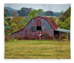 Barn On White Oak Road Fleece Blanket