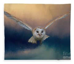 Barn Owl In Flight Fleece Blanket