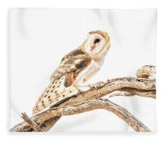 Barn Owl In The Desert Fleece Blanket