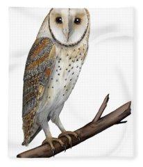 Barn Owl Screech Owl Tyto Alba - Effraie Des Clochers- Lechuza Comun- Tornuggla - Nationalpark Eifel Fleece Blanket