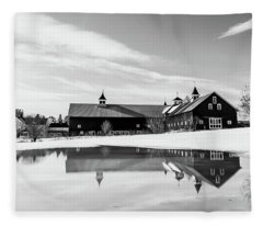Barn Reflection Black And White Fleece Blanket