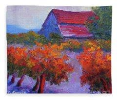 Barn Vineyard Autumn Fleece Blanket
