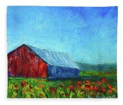 Barn With Flowers Fleece Blanket