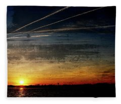 Barnegat Bay Sunset 1 - Jersey Shore Fleece Blanket