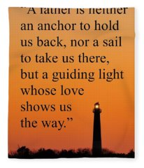 Barnegat Lighthouse With Father Quote Fleece Blanket