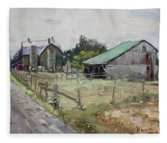 Barns And Old Shack In Norval Fleece Blanket