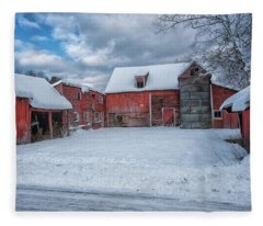 Barns In Winter II Fleece Blanket