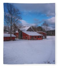 Barns In Winter Fleece Blanket