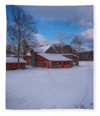 Barns In Winter Fleece Blanket
