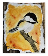 Barnwood Chickadee Fleece Blanket