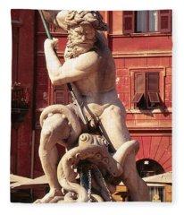 Baroque Sculpture Of Neptune Fountain In Piazza Navone, Rome, Italy Fleece Blanket