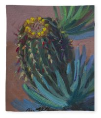 Barrel Cactus In Bloom - Boyce Thompson Arboretum Fleece Blanket