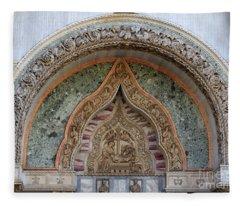 Bas Relief Over Porta Dei Fiori Of St Mark's Basilica In Venice Fleece Blanket
