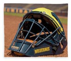 Baseball Catcher Helmet Fleece Blanket