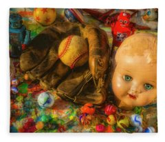 Baseball Glove And Dolls Head Fleece Blanket