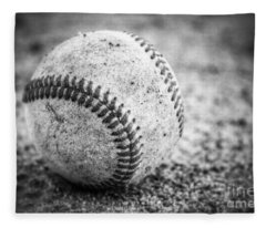 Baseball In Black And White Fleece Blanket