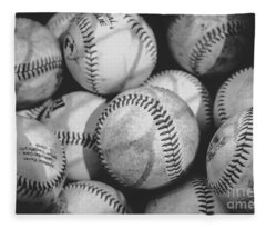 Baseballs In Black And White Fleece Blanket