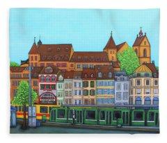 Basel, Barfusserplatz Rendez-vous Fleece Blanket