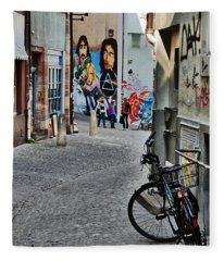 Basel - Switzerland - Bike And Street Fleece Blanket
