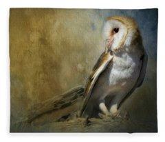 Bashful Barn Owl Fleece Blanket