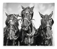 Mary's Team In Black And White Fleece Blanket