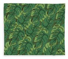 Basic Green Lead Pattern Fleece Blanket