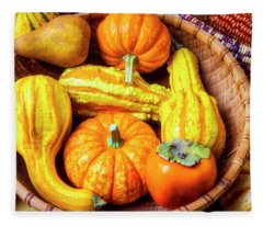 Basket Of Autumn Gourds And Fruits Fleece Blanket