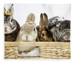Basket Of Bunnies Fleece Blanket