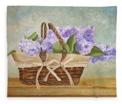 Basket Of Lilacs Fleece Blanket