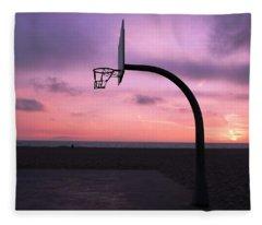 Basketball Court At Sunset Fleece Blanket