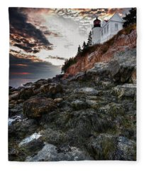 Bass Harbor Light Fleece Blanket