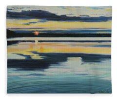 Bass Lake Sunset Fleece Blanket
