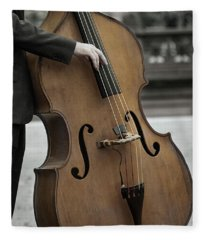 Bass Player In The Park Fleece Blanket