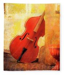 Bass Violin Fleece Blanket
