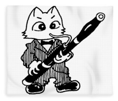 Bassoon Cat Fleece Blanket