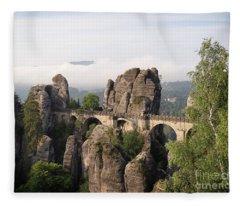Bastei Bridge In Saxon Switzerland Fleece Blanket