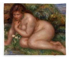 Bather Gazing At Herself In The Water Fleece Blanket