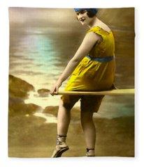 Bathing Beauty In Yellow  Bathing Suit Fleece Blanket