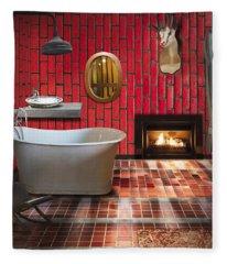 Bathroom Retro Style Fleece Blanket