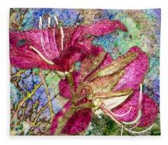 Batik Lilies Fleece Blanket