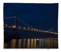 Bay Bridge At Night Fleece Blanket