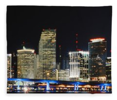 Bay Front Miami Skyline Fleece Blanket