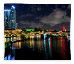 Bayside Miami Florida At Night Under The Stars Fleece Blanket