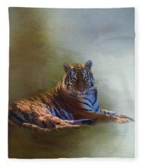 Be Calm In Your Heart - Tiger Art Fleece Blanket