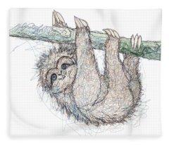 Be Slothful Slow Down Digital Sketch Of Sloth  Fleece Blanket