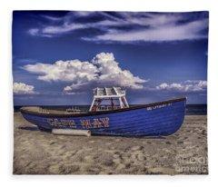 Beach And Lifeboat Fleece Blanket