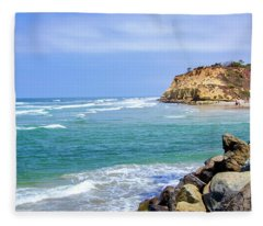 Beach At Del Mar, California Fleece Blanket