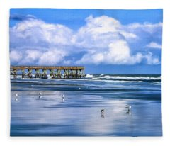 Beach At Isle Of Palms Fleece Blanket