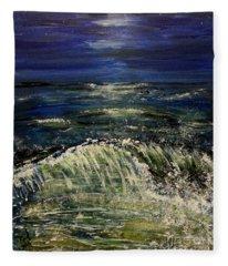 Beach At Night Fleece Blanket