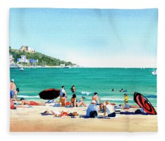Beach At Roses, Spain Fleece Blanket